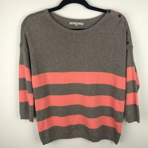 GAP 3/4 Sleeve Boatneck Sweater Taupe/Melon XS